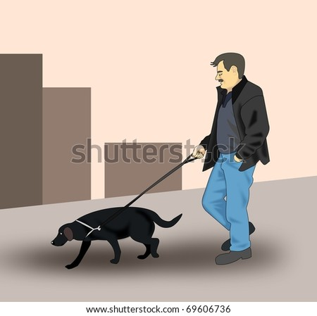 A man walking the dog in the city.