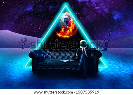 A man watching the end of the world on an other planet #illuminati