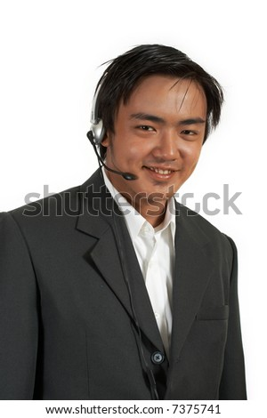 a man wearing a headset over a white background