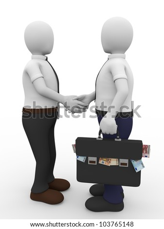 A man with a briefcase full of euro notes gives a handshake to another. Bribe