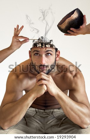 A man with a heatstroke with his bionic brain being fixed isolated on white background