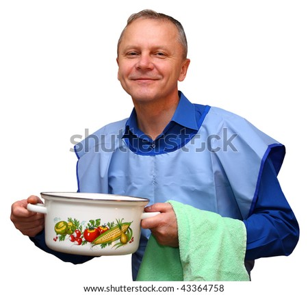 A man with a saucepan and a towel in his hands isolated on white with clipping path.