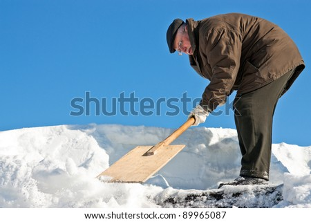 A man with a shovel removing snow from a roof
