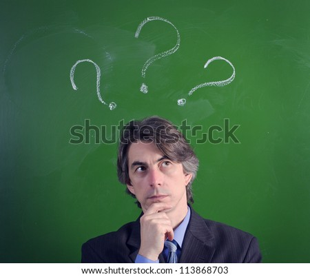 A man with an expression of questioning and question marks over their heads