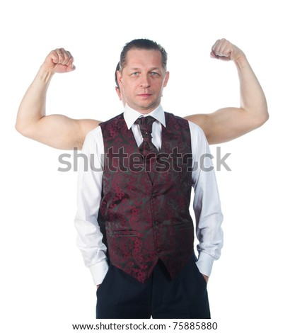 A man with biceps isolated on a white background