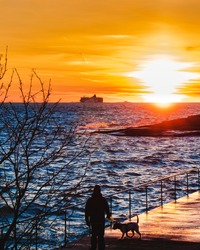 A man with dog standing on pier and looking at sea far horizon with big ship on water. Sunset over the sea. Orange evening sky. Big waves crashing into rocks. Windy cold weather at ocean. Silhouettes.