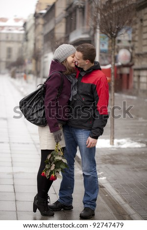 A man with his girlfriend dating. Katowice, Poland, Europe