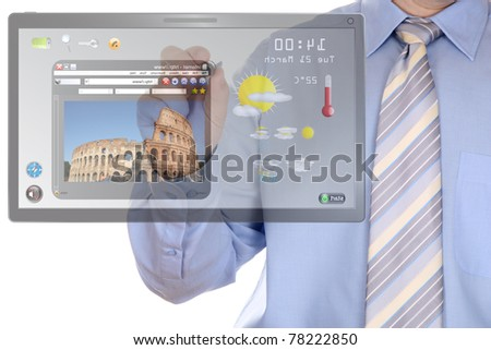 A man working with internet website