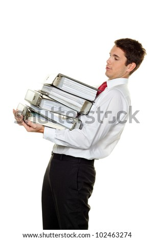 a manager in trouble with stacks of files. bureaucracy in administration