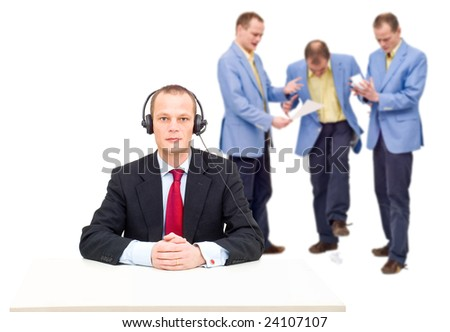 A manager, incapable of hearing the angry voices of his employees, a conceptual image of the failure to communicate in big organisations.
