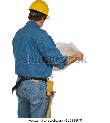 A mand with a tool belt and construction blue prints facing away from camera.  Included copy space on a white background
