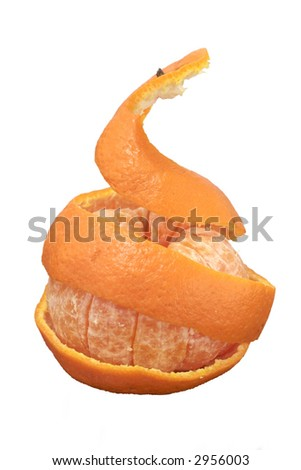 A mandarin with its peel lifted to show the fruit segments within