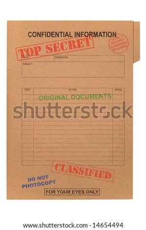 A manila file with various security stamps upon it, isolated on white with clipping path.