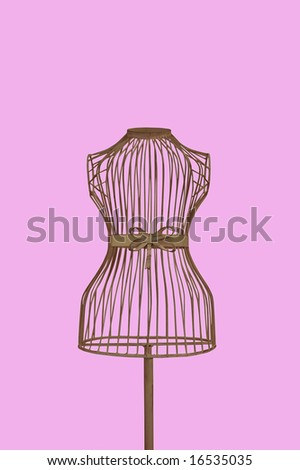 a mannequin that is see through with a clipping path on a pink background