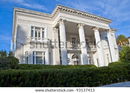 A mansion on the Charleston Battery during winter. - stock photo