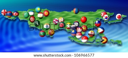 a map of Asia and its flags shaped as spheres / Asian flags and map