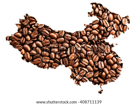 A map of China made out of coffee beans