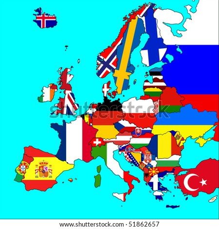 A map of Europe with all countries borders and flags represented.
