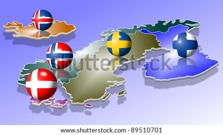 A map of five Scandinavian countries with their flags shaped as balls / Scandinavia