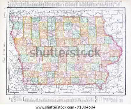 a map of iowa  usa from...