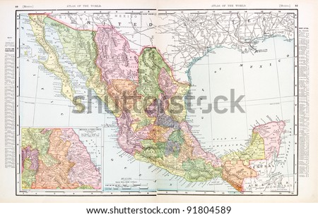 A map of Mexico from Spofford's Atlas of the World, printed in the United States in 1900, created by Rand McNally & Co.