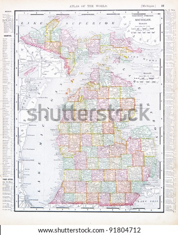 A map of Michigan, USA from Spofford's Atlas of the World, printed in the United States in 1900, created by Rand McNally & Co.