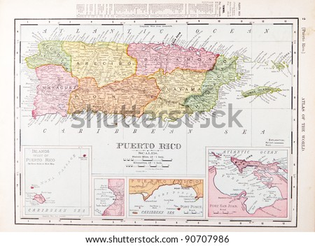 A map of Puerto Rico from Spofford's Atlas of the World, printed in the United States in 1900, created by Rand McNally & Co.