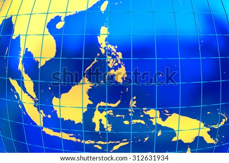 A map of the golden land of the south-east Asia with latitude and longitude.