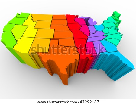 A map of the United States in a rainbow of colors, symbolizing the diverse range of cultures that make up the nation - stock photo