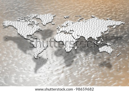 a map of the world filled with a binary code / digital globalization