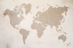 a map of the world on old wall