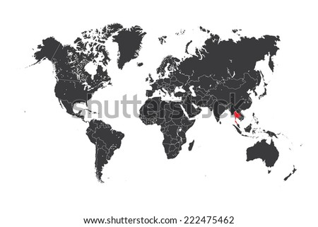A Map of the world with a selected country of Thailand