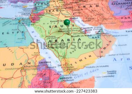 A map with a green map pin placed at Riyadh, Saudi Arabia