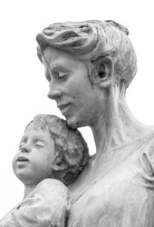 A marble statue of a mother and son, isolated on white background.