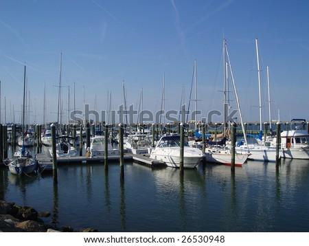 A marina in Hampton, VA - stock photo