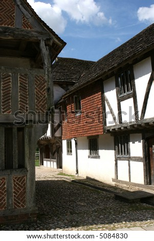 A market hall from Titchfield Hampshire, England in a fifteenth century shopping mall. - stock photo