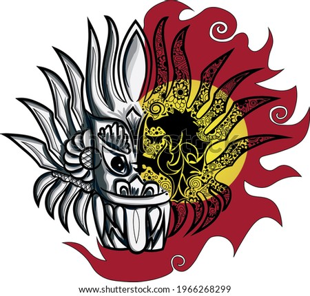 A mask of Sri Lankan tradition culture. It is called as 'yaka' . This is a illustration of yaka mask with Lion mark and to traditional colors.  Stok fotoğraf ©