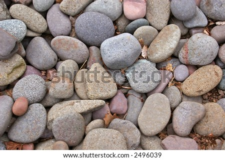 A mass of smoothed pebbles from the river.