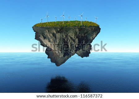A massive island covered in trees floats over the calm water, powered by wind energy.