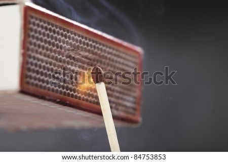 A Match ignited by rubbing the match head against a match box.