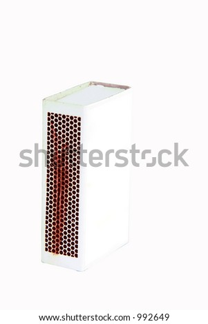 A matchbox isolated on white with clipping path and a blank face ready for you own graphic. There is a work path where the label should be placed.