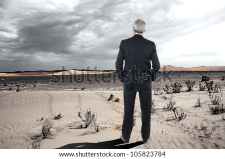 A mature businessman standing in the desert. Man is wearing a suit and seen from behind with his hands in his pockets.