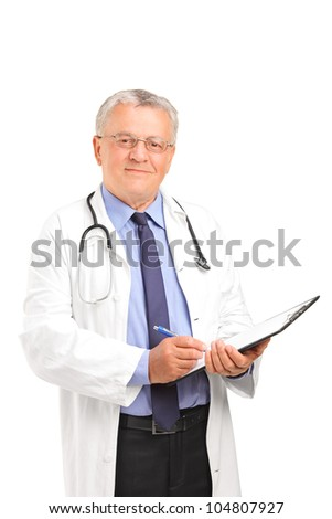A mature healthcare professional holding a clipboard and posing isolated on white background