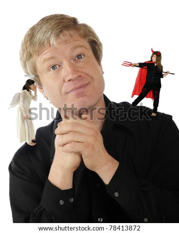 A mature man delightedly listening to an angel on one shoulder while a she-devil is preparing to spear him with her pitchfork on the other.  Isolated on white.