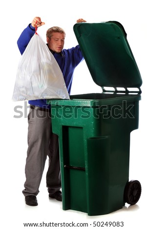 stock photo a mature man dumping the household trash in a green dumpster isolated on white 50249083 Trash On Street