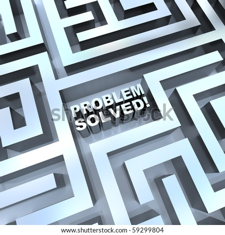 A maze containing the words - Problem Solved