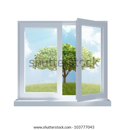 A meadow with a tree viewed through a partially opened window in a sunny day