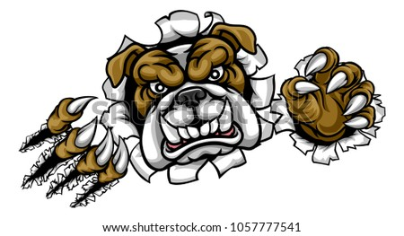 A mean bulldog dog angry animal sports mascot cartoon character ripping through the background