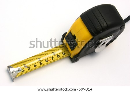A measuring tape on white background.
