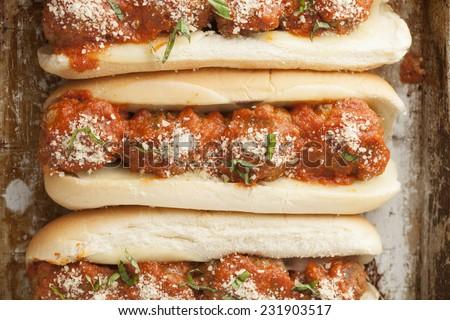 A meatball sub sandwich.